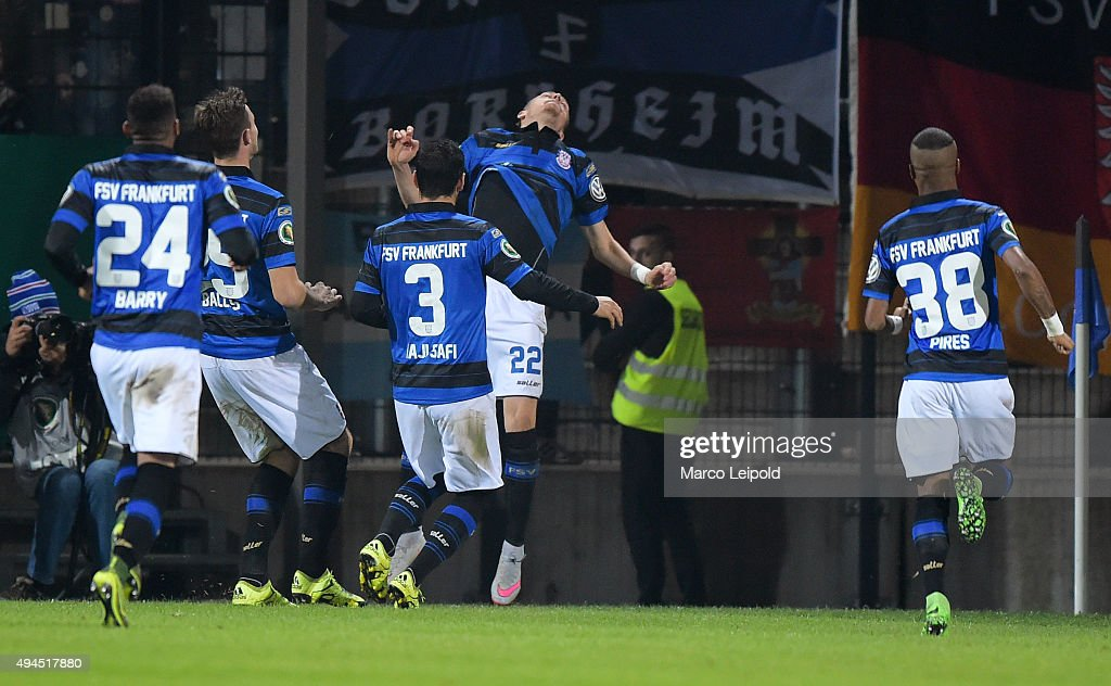 Florian Ballas, Ehsan Haji Safi,Timm Golley and Felipe Pires of FSV Frankfurt celebrate after scoring the 1:0 during the game between dem FSV Frankfurt and Hertha BSC on october 27, 2015 in Frankfurt on Main, Germany.