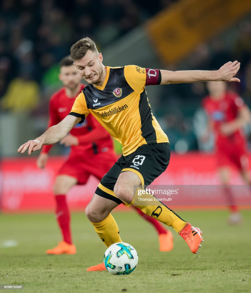 Florian Ballas of Dresden plays the ball during the Second Bundesliga match between SG Dynamo Dresden and 1. FC Heidenheim 1846 at DDV-Stadion on March 9, 2018 in Dresden, Germany.