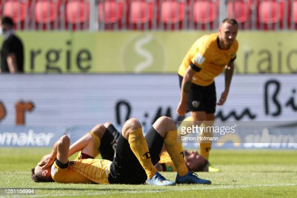 Florian Ballas of SG Dynamo Dresden looks dejected following his sides defeat in during the Second Bundesliga match between SV Sandhausen and SG...