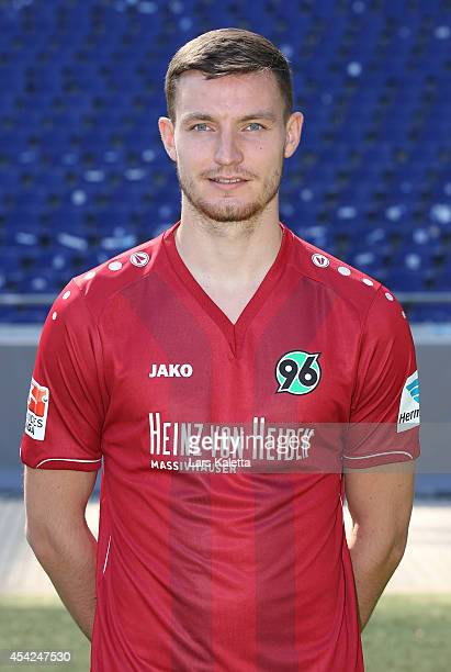 Florian Ballas poses during the team presentation of Hannover 96 at HDIArena on August 27 2014 in Hanover Germany
