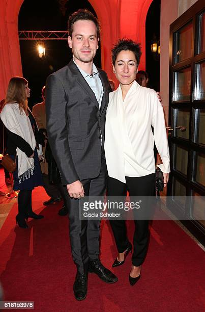 Florian Barthomaei and Dunja Hayali during the Hessian Film and Cinema Award at Alte Oper on October 21, 2016 in Frankfurt am Main, Germany.