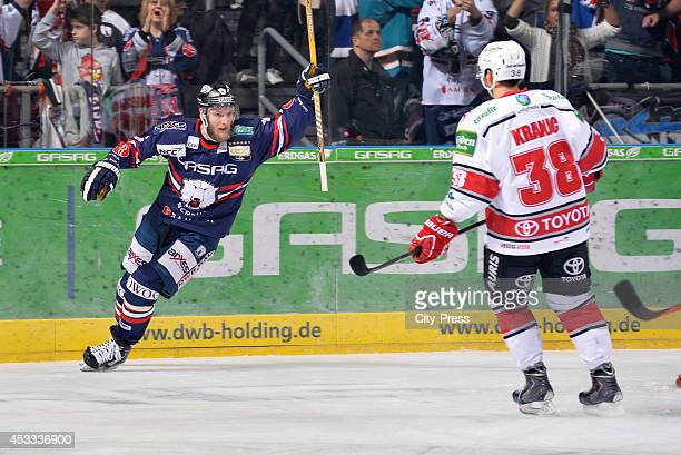Florian Busch and Ales Kranjc during a DEL game between Eisbären Berlin and Kölner Haie on december 10 2013 in Berlin Germany