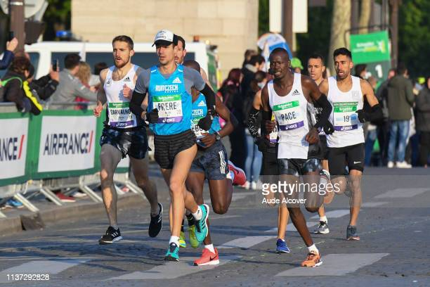 Florian Carvalho Medhi Frere and Morhad Amdouni during the Marathon of Paris on April 14 2019 in Paris France