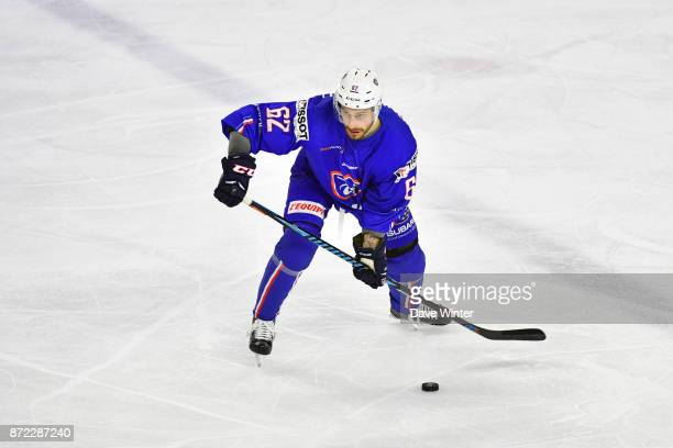 Florian Chakiachvili of France during the EIHF Ice Hockey Four Nations tournament match between France and Slovenia on November 9 2017 in Cergy France