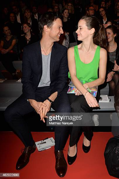 Florian David Fitz and Anja Knauer attend the 'Shop the Runway by FASHION ID' show during the MercedesBenz Fashion Week Berlin Autumn/Winter 2015/16...