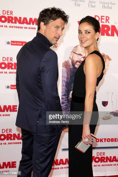 Florian David Fitz and Janina Uhse attend the German premiere of the film 'Der Vorname' at Cineplex Cologne on October 08 2018 in Cologne Germany