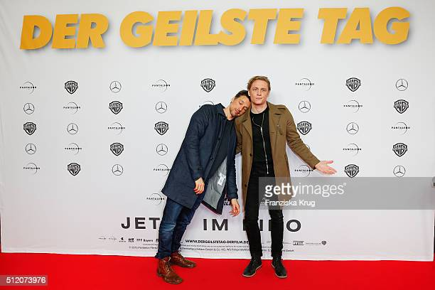 Florian David Fitz and Matthias Schweighoefer attend the 'Der geilste Tag' Premiere at Zoo Palast on February 24 2016 in Berlin Germany