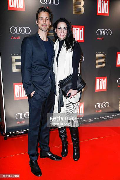 Florian David Fitz and Minu Barati attend the Bild 'Place to B' Party on February 07 2015 in Berlin Germany