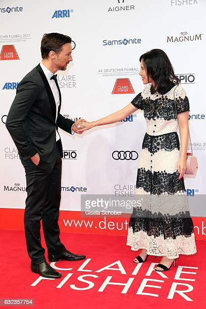 Florian David Fitz and Sibel Kekilli during the 44th German Film Ball 2017 arrival at Hotel Bayerischer Hof on January 21 2017 in Munich Germany