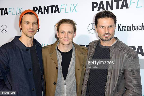 Florian David Fitz, Matthias Schweighoefer and Simon Verhoeven attend the PantaFlix Party on February 17, 2016 in Berlin, Germany.