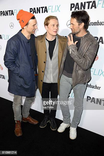 Florian David Fitz Matthias Schweighoefer and Simon Verhoeven attend the PantaFlix Party on February 17 2016 in Berlin Germany