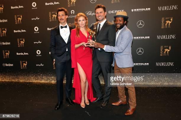 Florian David Fitz Palina Rojinski Simon Verhoeven Eric Kabongo with award during the Bambi Awards 2017 winners board at Stage Theater on November 16...