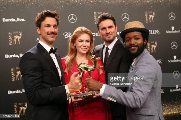 Florian David Fitz, Palina Rojinski, Simon Verhoeven, Eric Kabongo with award during the Bambi Awards 2017 winners board at Stage Theater on November...