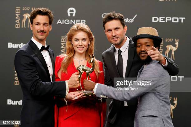 Florian David Fitz Palina Rojisnki Simon Verhoeven and Eric Kabongo pose with award at the Bambi Awards 2017 winners board at Stage Theater on...