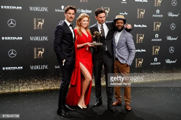 Florian David Fitz Palina Rojisnki Simon Verhoeven and Eric Kabongo pose with award at the Bambi Awards 2017 winners board at Stage Theater on...