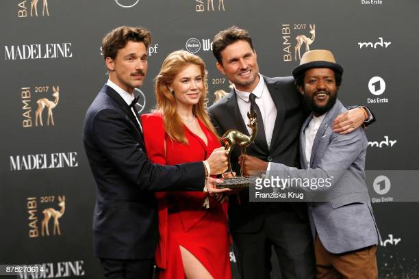 Florian David Fitz Palina Rojisnki Simon Verhoeven and Eric Kabongo pose with an award at the Bambi Awards 2017 winners board at Stage Theater on...