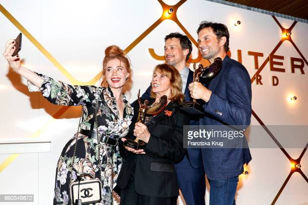 Florian David Fitz Senta Berger Palina Rojinski and Simon Verhoeven attend the Jupiter Award at Cafe Moskau on March 29 2017 in Berlin Germany