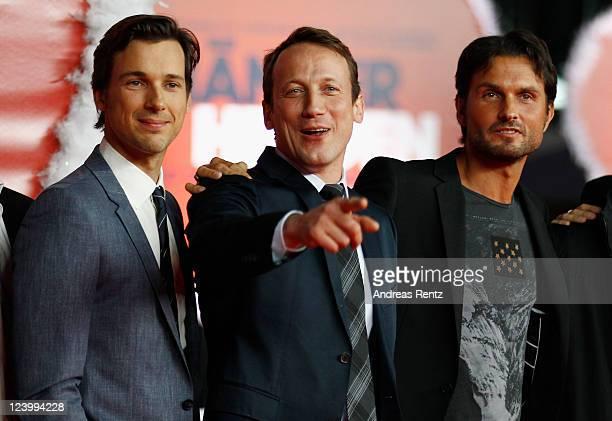 Florian David Fitz Wotan Wilke Moehring and Simon Verhoeven attend the 'Maennerherzen 2 und die ganz grosse Liebe' premiere at CineStar on September...
