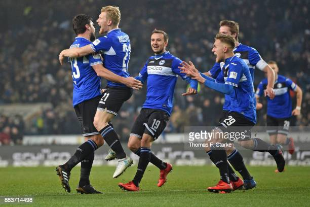Florian Dick Andreas Voglsammer Manuel Prietl Leandro Putaro and Julian Boerner of Bielefeld celebrate their teams second goal during the Second...