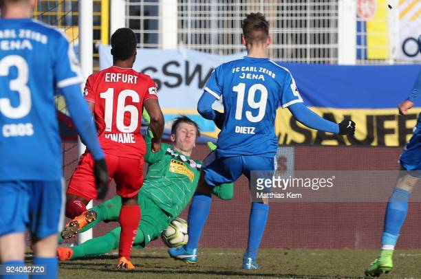 Florian Dietz of Jena scores the first goal during the 3 Liga match between FC Carl Zeiss Jena and FC RotWeiss Erfurt at ErnstAbbeSportfeld on...