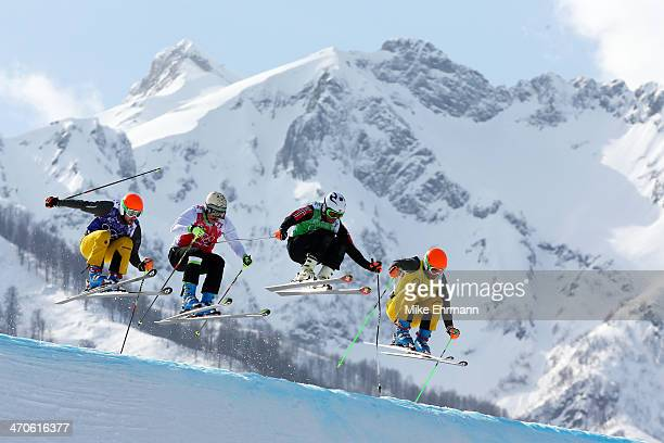 Florian Eigler of Germany Filip Flisar of Slovenia Didrik Bastian Juell of Norway and Andreas Schauer of Germany compete during the Freestyle Skiing...