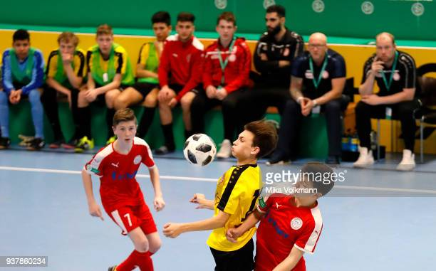 Florian Engelhardt of Koeln fights for the ball during the DFB Indoor Football match between Hombrucher SV 09/72 and SC Fortuna Koeln on March 25...