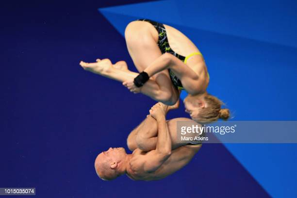 Florian Fandler and Christina Wassen of Germany compete in the Mixed Synchronised 10m Platform Final during the diving on Day Ten of the European...
