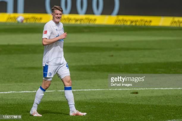 Florian Flick of FC Schalke 04 gestures during the Bundesliga match between TSG Hoffenheim and FC Schalke 04 at PreZero-Arena on May 8, 2021 in...