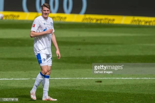 Florian Flick of FC Schalke 04 Looks on during the Bundesliga match between TSG Hoffenheim and FC Schalke 04 at PreZero-Arena on May 8, 2021 in...