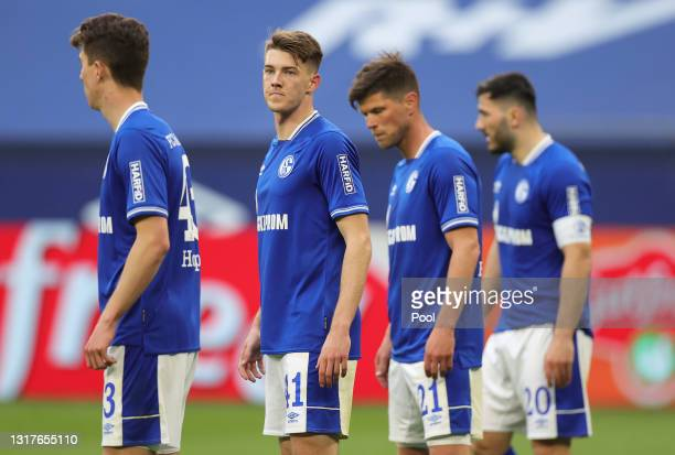Florian Flick of FC Schalke 04 looks on during the Bundesliga match between FC Schalke 04 and Hertha BSC at Veltins-Arena on May 12, 2021 in...
