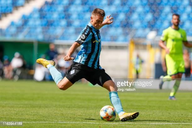 Florian Flick of Waldhof Mannheim during the 3. Liga match between SV Waldhof Mannheim and MSV Duisburg at Carl-Benz-Stadium on August 25, 2019 in...