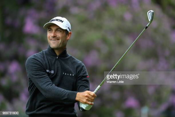 Florian Fritsch of Germany tees off the 2nd hole during the second round of the Belgian Knockout at at the Rinkven International Golf Clubon May 18...