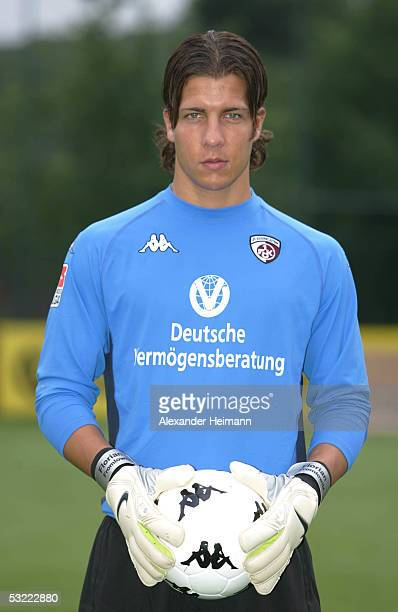 Florian Fromlowitz looks in the camera during the team presentation of 1FC Kaiserslautern for the Bundesliga season 2005 2006 on July 10 2005 in...