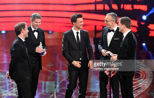 Florian Gallenberger Christian Becker Florian David Fitz Christoph Suess and Benjamin Herrmann during the Bavarian Film Award 2016 show at...