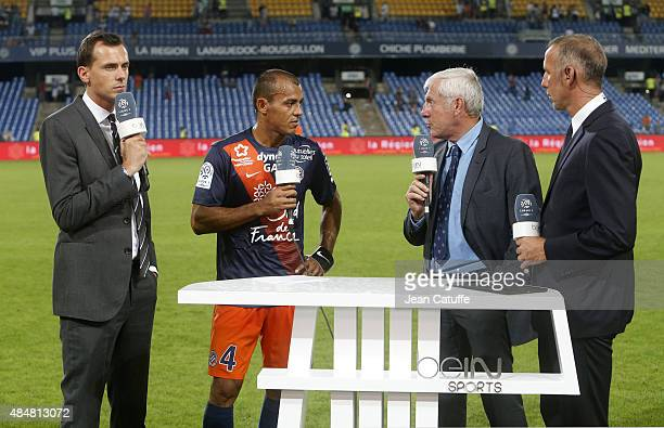 Florian Genton of beIN Sports Vitorino Hilton of Montpellier Luis Fernandez and Eric Roy comment the French Ligue 1 match between Montpellier Herault...