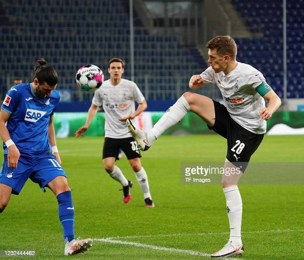 Florian Grillitsch of TSG Hoffenheim, Matthias Ginter of Borussia Moenchengladbach during the Bundesliga match between TSG Hoffenheim and Borussia...
