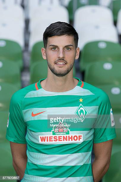Florian Grillitsch poses during the offical team presentation of Werder Bremen on July 20 2016 in Bremen Germany