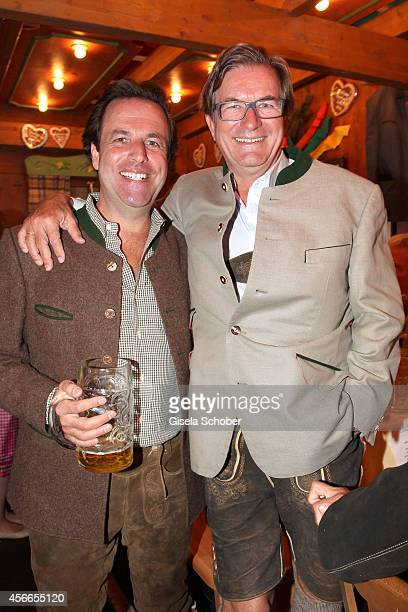 Florian Haffa and his brother Thomas Haffa during Oktoberfest at Schuetzenzelt/Theresienwiese on October 4 2014 in Munich Germany