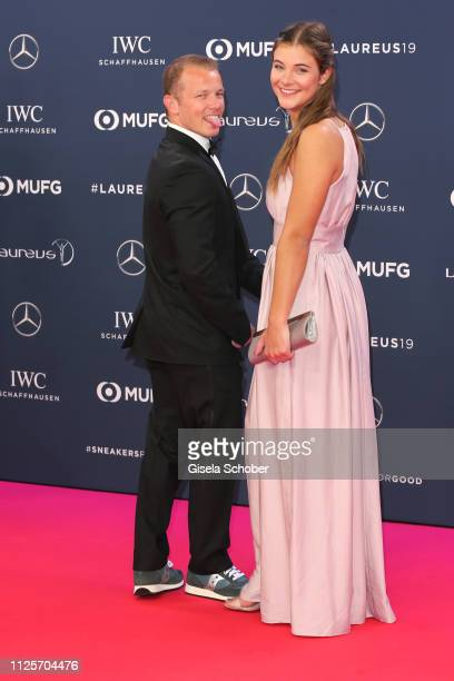 Florian Hambuechen and his girlfriend Nina during the Laureus World Sports Awards 2019 at Sporting Club on February 18, 2019 in Monaco, Monaco.