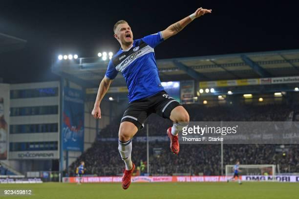 Florian Hartherz of Bielefeld celebrates scoring his teams first goal during the Second Bundesliga match between DSC Arminia Bielefeld and SG Dynamo...
