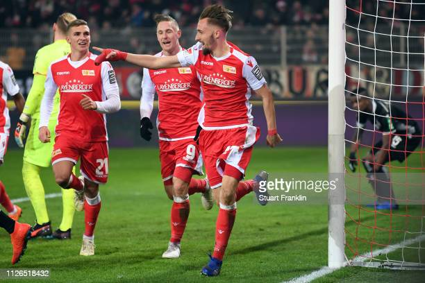 Florian Huebner of Berlin celebrates his team's second goal during the Second Bundesliga match between 1 FC Union Berlin and 1 FC Koeln at Stadion An...