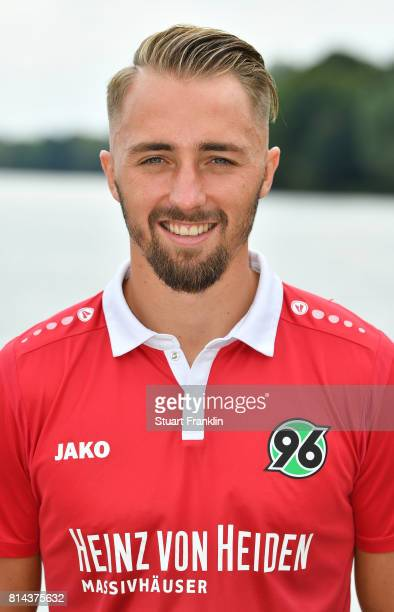 Florian Huebner of Hannover 96 poses during the team presentation at on July 14 2017 in Hanover Germany