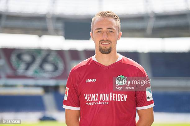 Florian Huebner poses during the team presentation of Hannover 96 on July 7 2016 in Hanover Germany