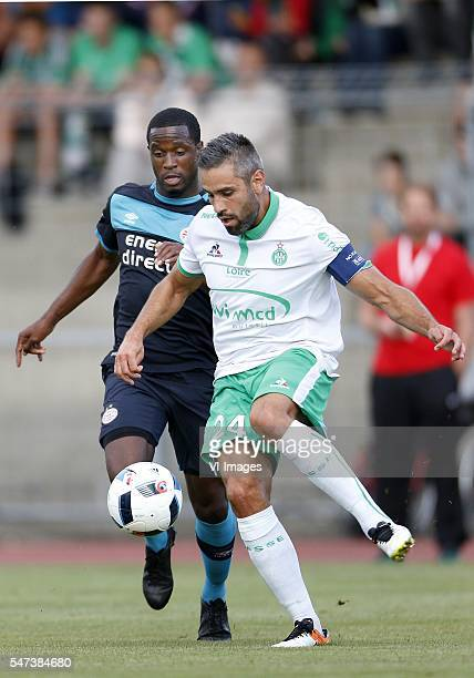 Florian Jozefzoon of PSV Loic Perrin of AS St Etienne during the preseason friendly match between AS saint Etienne v PSV Eindhoven on July 13 2016 at...