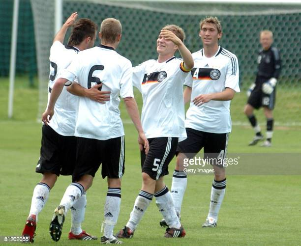 Florian Jungwirth, Dennis Diekmeier, Stefan Reinartz and Timo Gebhart of Germany celebrate after scoring a goal during the UEFA Under 19 European...