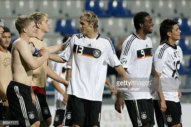 Florian Jungwirth Marcel Risse Richard SukutaPasu and Danny Latza celebrate after the U19 European Championship semifinal match between Germany and...