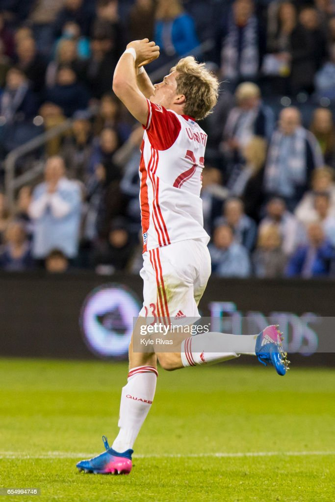 Florian Jungwirth #23 of San Jose Earthquakes celebrates scoring a goal on Sporting Kansas City in the first minute of stoppage time at Children's Mercy Park on March 18, 2017 in Kansas City, Kansas.