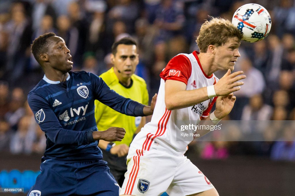 Florian Jungwirth #23 of San Jose Earthquakes heads a shot past Gerso Fernandes #7 of Sporting Kansas City in stoppage time at Children's Mercy Park on March 18, 2017 in Kansas City, Kansas.