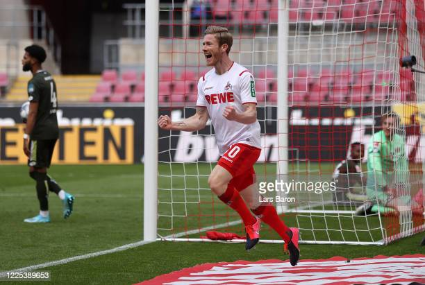 Florian Kainz of 1 FC Koeln celebrates after scoring his team's second goal during the Bundesliga match between 1 FC Koeln and 1 FSV Mainz 05 at...