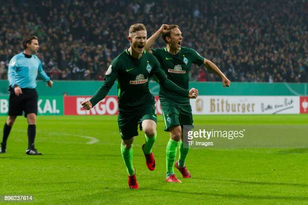 Florian Kainz of Bremen celebrates after scoring his team`s second goal during the DFB Cup match between Werder Bremen and SC Freiburg at...